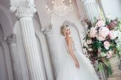Charming young bride in luxurious wedding dress. Pretty girl in photo Studio, wedding photography poster