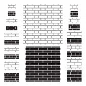20 brick wall (brickwork) seamless patterns. Four types of bonds used in brick masonry work, two sizes of brick, contour and silhouette design. Brick wall sign, icons, backgrounds. Vector illustration poster