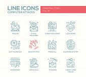 Computer Attacks - modern vector plain line design icons and pictograms set. Trojan, e-mail malware, worm, ddos, software bug, logic bomb, firewall, scanning system, password, data loss, phishing, credit card fraud poster