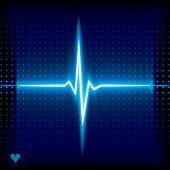 Blue heart beat. Ekg graph. poster