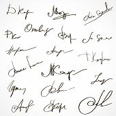 Autographs Set. Personal signature. Signature set. Scribbles and sketches of signatures as elements of documents. Set of imaginary signature. Set of autographs. Collection of Business Contract Signatures poster