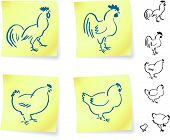 rooster and chickens on post it notes original vector illustration 6 color versions included poster