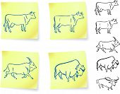 cow buffalo and bison on post it notes original vector illustration 6 color versions included poster