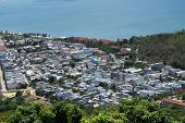 aerial view of southeast asia town near the bay in Quy Nhon Binh Dinh province vietnam poster