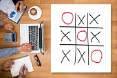 XO game of tic tac toe game close up ox (Hand drawn tic-tac-toe element) poster