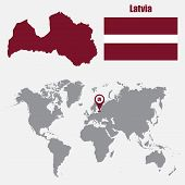 Latvia map on a world map with flag and map pointer. Vector illustration poster