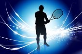 Tennis Player on Abstract Modern Light Background Original Illustration poster