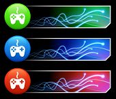 Game Controller Icon on Mutli Colored Button Set Original Illustration poster