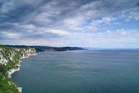 Beautiful cliffs on coast of Adriatic sea in gulf of Trieste Italy.