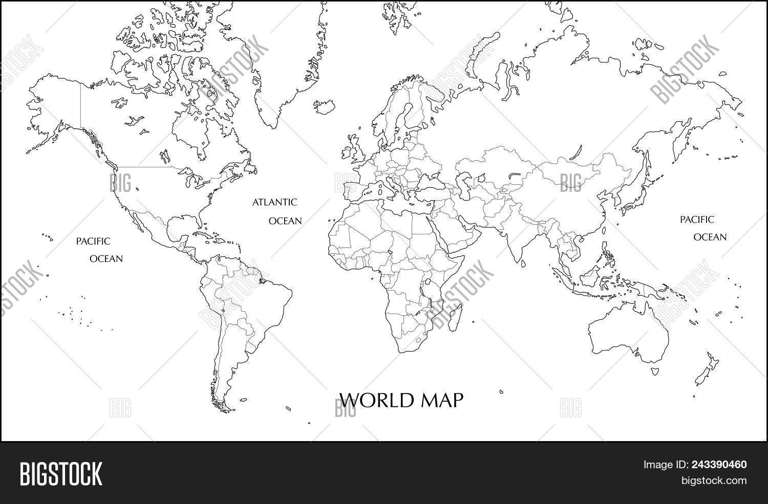 World map mercator vector photo free trial bigstock world map mercator projection blank map with boundary line gumiabroncs Images