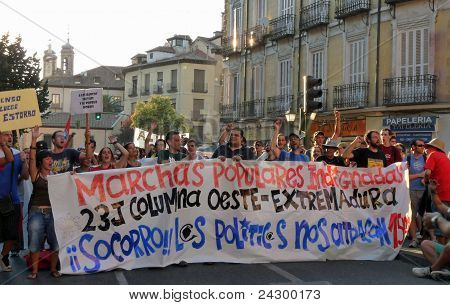 Spanish protestors demonstrate on streets of Madrid demanding political change on 22 JULY 2011