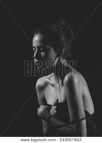 Face Girl For Magazine Cover. Girl Face Portrait In Your Advertisnent. Woman With Sensual Face And B