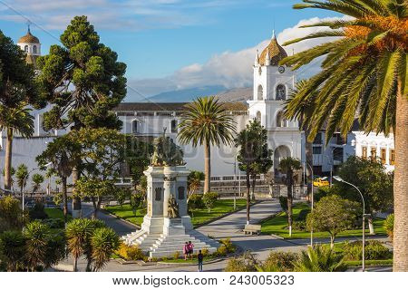 Latacunga Ecuador May 2018 Built In Romanesque Style In 1700 Is Located In The Central Square Of The