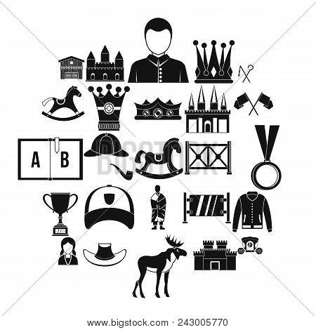 Horsemanship Icons Set. Simple Set Of 25 Horsemanship Vector Icons For Web Isolated On White Backgro