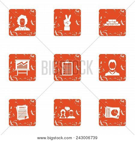 Rising Knowledge Icons Set. Grunge Set Of 9 Rising Knowledge Vector Icons For Web Isolated On White