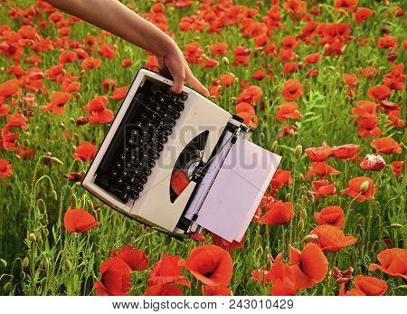 Vintage Typewriter In Hand, Education, Business, Grammar. Journalism And Writing, Summer. Drug, Narc