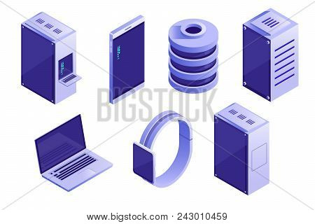 Big Collection Of It Devices And Computing Icons. Servers, Databases, Network Devices. Vector Isomet