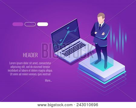 Businessman Is Standing On The Luminous Button.isometric Concept Of It Technology, Server Management