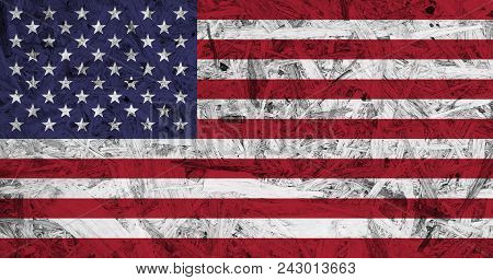 Usa Flag On Old Wooden Box Bagasse Recycled, Vintage Textures Background.