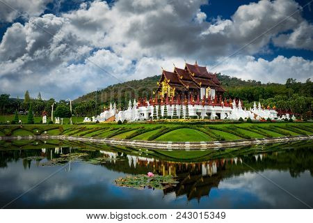 Traditional Thai Architecture In The Lanna Style , Royal Pavilion (ho Kham Luang) At Royal Flora Exp