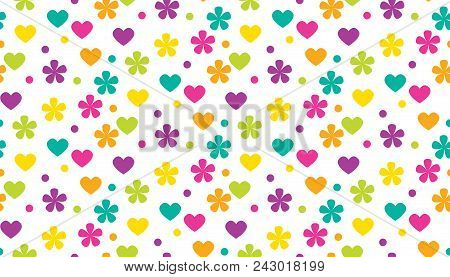 Abstract Polka Dot Traditional Floral Pattern. Cute Color Flowers And Heads Motif. Simple Traditiona