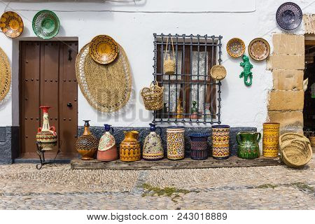 Pottery And Baskets At A Souvenir Shop In Ubeda, Spain
