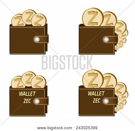 Set Of Brown Wallets With Zcash Coins On A White Background , Crypto Currency In The Wallet,sign  Cr