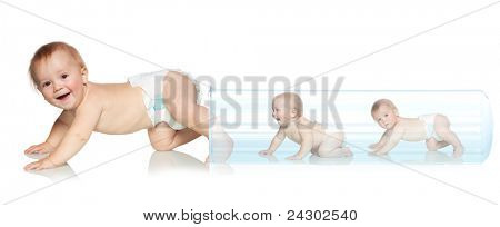 Baby getting out of the tube. Artificial Insemination. In Vitro Fertilization poster