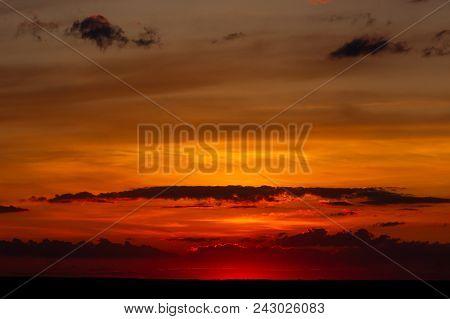 Red Orange Bright Sunset On The Hills In Donetsk Region, Ukraine