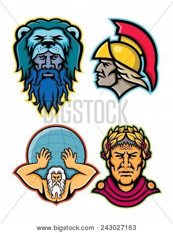 Mascot Icon Illustration Set Of Heads Of Roman And Greek Heroes And Gods In Mythology  Like Hercules