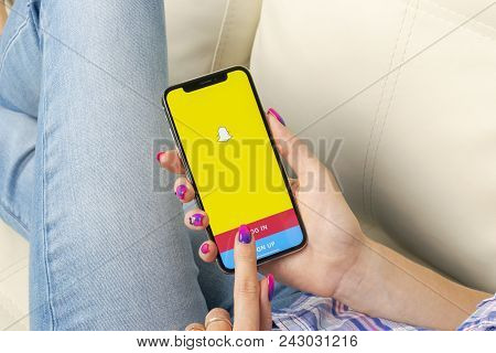Sankt-petersburg, Russia, May 30, 2018: Snapchat Application Icon On Apple Iphone X Smartphone Scree