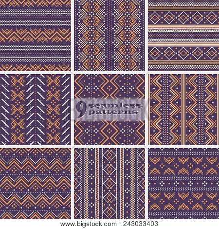 Set Of Seamless Geometric Folk Style Patterns, Violet And Orange Colors. Abstract Vector Prints Coll