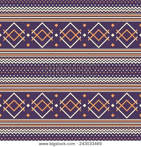Seamless Abstract Pattern With Zigzag, V Shapes And Square Dots. Folk Style Geometric Ornament Viole