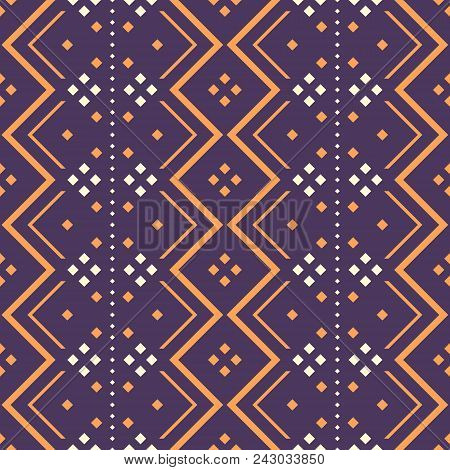 Seamless Abstract Pattern With Zigzag Elements And Square Dots. Folk Style Geometric Ornament Violet