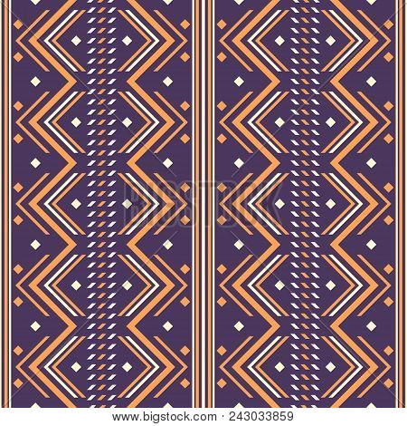Seamless Abstract Geometric Pattern. Folk Style Ornament Violet And Orange Colors