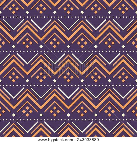 Seamless Geometric Pattern Of Zigzag, V Shapes And Square Dots. Wide Horizontal Stripes. Folk Style