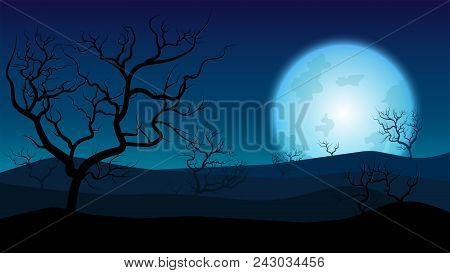 Silhouette Rainless Landscape;blue Moon On Desert At Twilight;desert In Summer Season;desert Wallpap