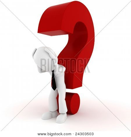 3d man and a big red question mark