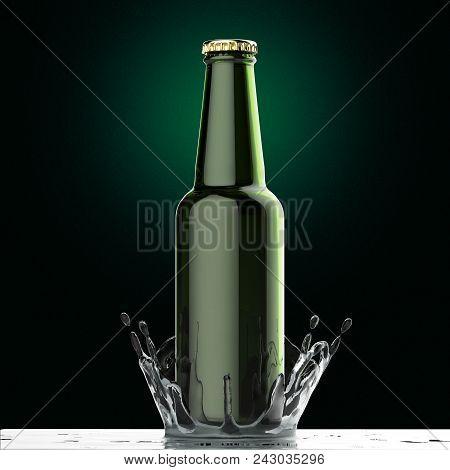 Blank Beer Bottle Mock-up With The Splash Of Pure Water  Isolated Render, Beverage Design Presentati