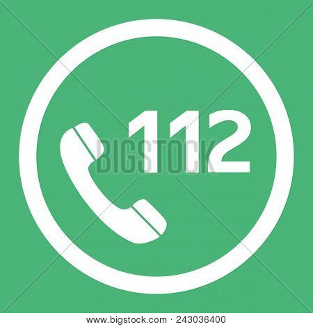 Emergency Call Number 112 Flat Design Vector Icon. Web Button In Eps 10.
