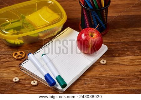 Concept Of School Lunch Break With Healthy Lunch Box Full Of Sandwiches, Fruits And Vegetables And S