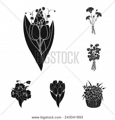 A Bouquet Of Fresh Flowers Black Icons In Set Collection For Design. Various Bouquets Vector Symbol