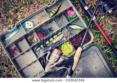 Aerial view of tackle box on the ground