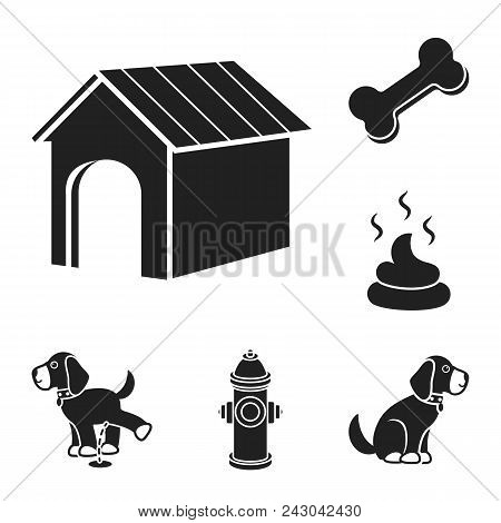 Pet Dog Black Icons In Set Collection For Design. Caring For The Puppy Vector Symbol Stock  Illustra