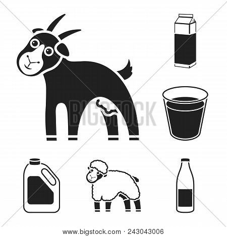 Milk Product Black Icons In Set Collection For Design.milk And Food Vector Symbol Stock  Illustratio