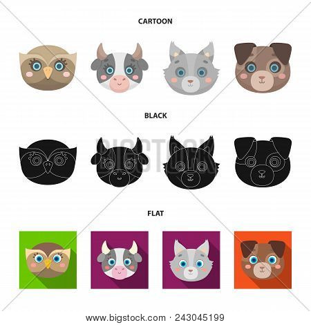 Owl, Cow, Wolf, Dog. Animal Muzzle Set Collection Icons In Cartoon, Black, Flat Style Vector Symbol