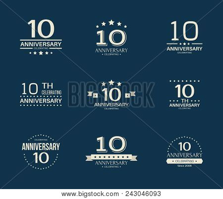 10 - Year Anniversary Celebrating Logotype. 10th Anniversary Logo Set.