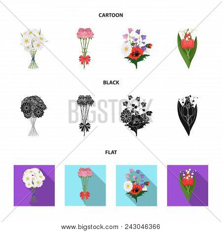 A Bouquet Of Fresh Flowers Cartoon, Black, Flat Icons In Set Collection For Design. Various Bouquets