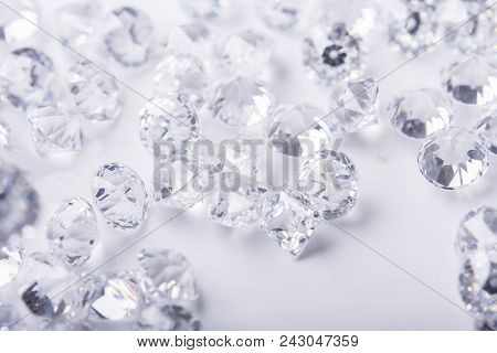 Diamond With Tweezers And Magnifier.gemstone Beauty,crystal In The Tweezers At The Jeweler, A Scatte