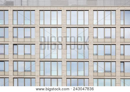 Facade Modern Office Building Europe, Construction New Buildings, Glass Facade Office Building, Back